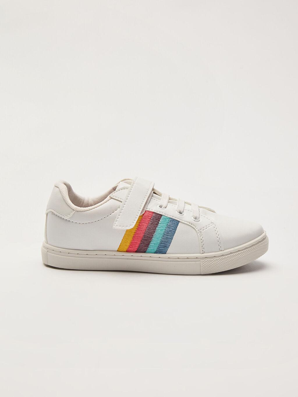 Beyaz Kız Çocuk Cırt Cırtlı Günlük Ayakkabı 0SI091Z4 LC Waikiki