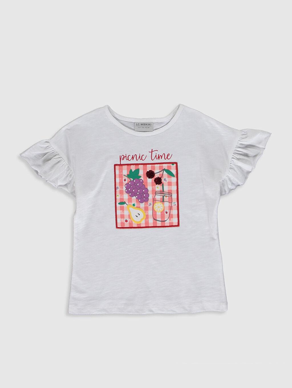 Beyaz Kız Çocuk Baskılı Pamuklu Tişört 0SI095Z4 LC Waikiki