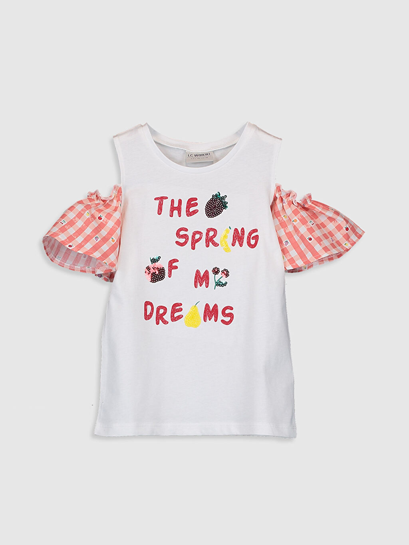 Beyaz Kız Çocuk Omuzu Açık Pamuklu Tişört 0SI096Z4 LC Waikiki