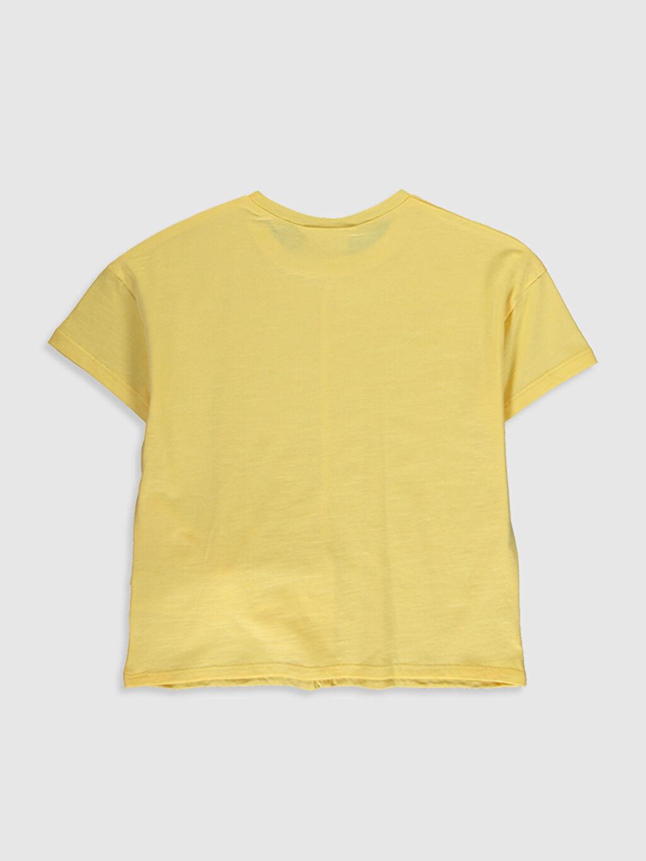 %100 Pamuk Standart Düz Tişört Bisiklet Yaka Kısa Kol Kız Çocuk Fiyonk Detaylı Pamuklu Tişört