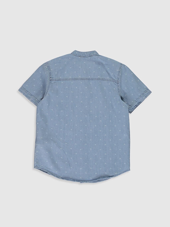 %100 Pamuk Desenli Standart Kısa Kol Erkek Çocuk Jean Gömlek