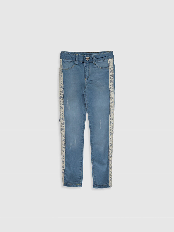 İndigo Kız Çocuk Dantel Detaylı Skinny Jean Pantolon 0SI377Z4 LC Waikiki