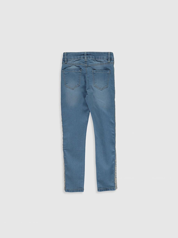 %79 Pamuk %18 Polyester %3 Elastan Normal Bel Dar Kız Çocuk Dantel Detaylı Skinny Jean Pantolon