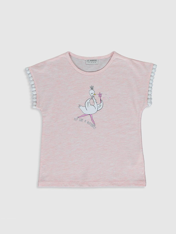 Pembe Kız Çocuk Baskılı Kısa Kollu Tişört 0SI613Z4 LC Waikiki