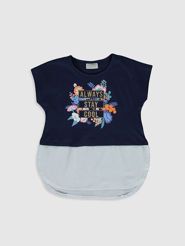 Lacivert Kız Çocuk Baskılı Pamuklu Tişört 0SI631Z4 LC Waikiki