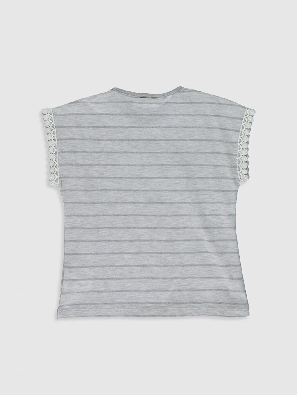 %60 Pamuk %40 Polyester Standart Baskılı Tişört Bisiklet Yaka Kısa Kol Kız Çocuk Baskılı Dantel Detaylı Tişört