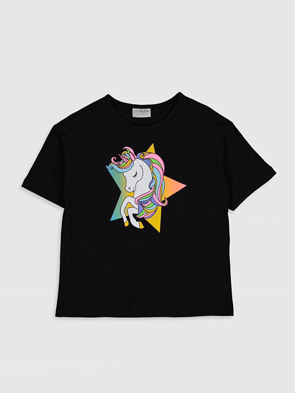 Siyah Kız Çocuk Unicorn Baskılı Pamuklu Tişört 0SI870Z4 LC Waikiki