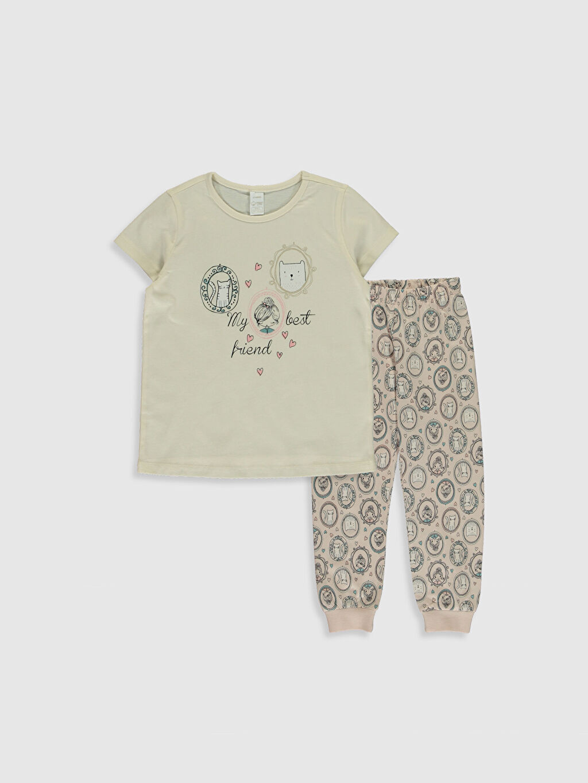 Ekru Kız Çocuk Baskılı Organik Pamuklu Pijama Takımı 0SI896Z4 LC Waikiki
