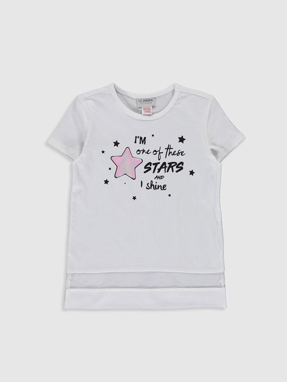 Beyaz Kız Çocuk Baskılı Pamuklu Tişört 0SI965Z4 LC Waikiki