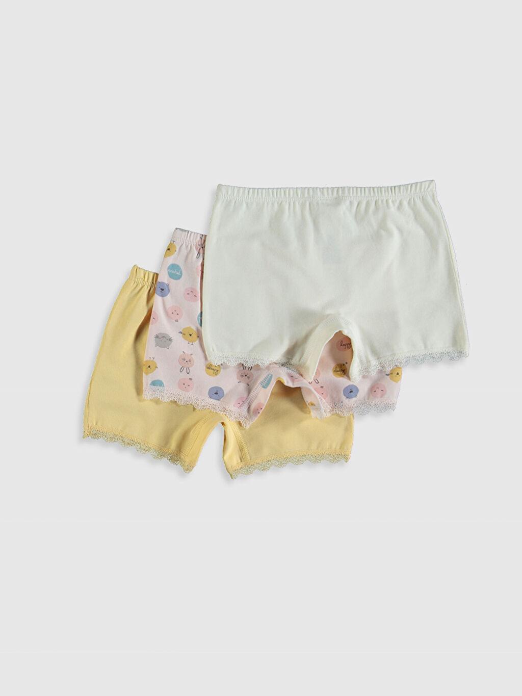 %95 Pamuk %5 Elastan Standart İç Giyim Alt Kız Çocuk Organik Pamuklu Boxer 3'lü