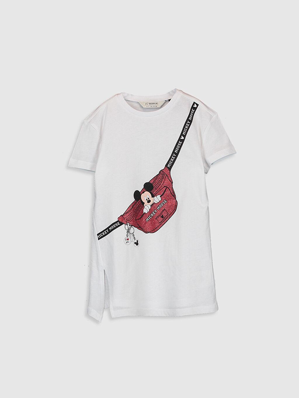 Beyaz Kız Çocuk Mickey Mouse Baskılı Pamuklu Tişört 0SJ563Z4 LC Waikiki