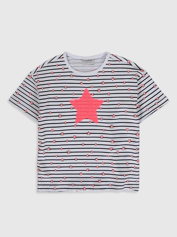 Beyaz Kız Çocuk Baskılı Pamuklu Tişört 0SJ755Z4 LC Waikiki