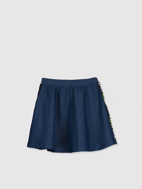 %71 Pamuk %23 Polyester %6 Elastan Diz Üstü Düz Kız Çocuk Kloş Etek
