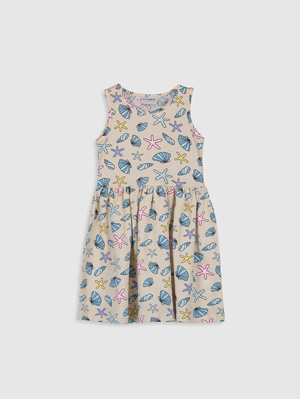 Bej Kız Çocuk Desenli Pamuklu Elbise 0SJ837Z4 LC Waikiki