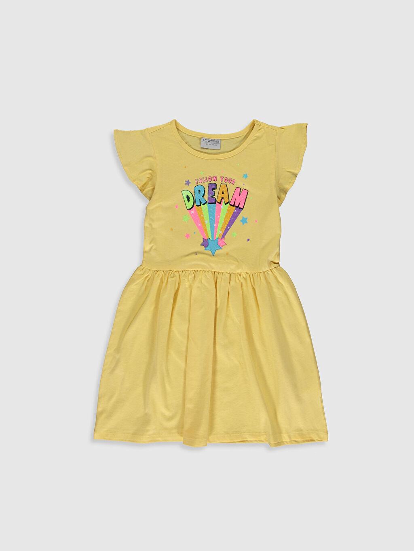 Sarı Kız Çocuk Baskılı Pamuklu Elbise 0SJ861Z4 LC Waikiki