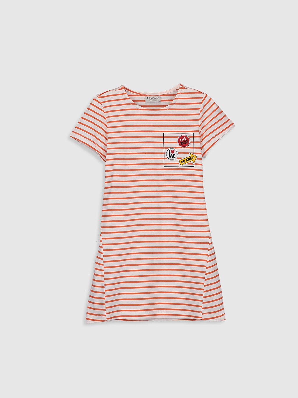 Ekru Kız Çocuk Çizgili Pamuklu Elbise 0SJ864Z4 LC Waikiki