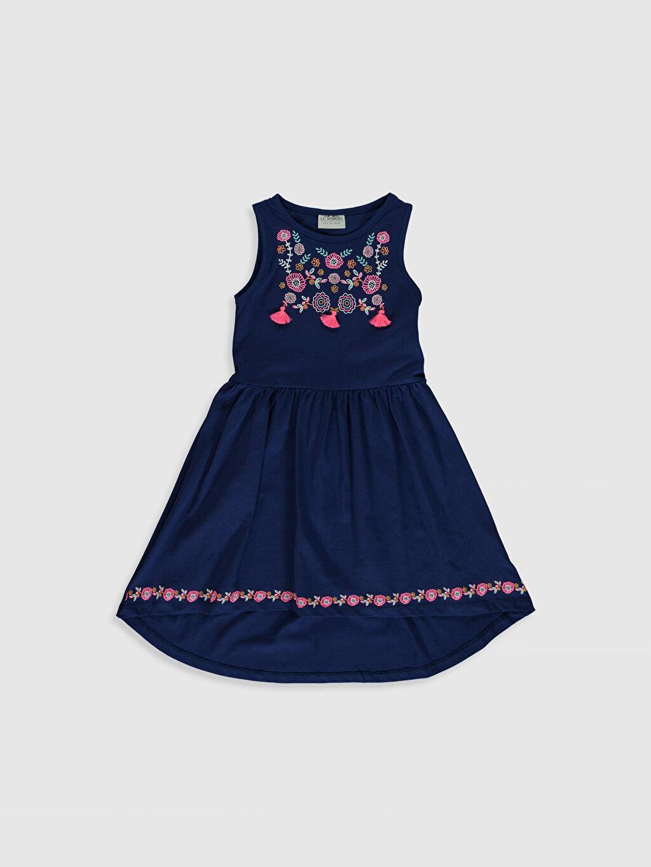 Lacivert Kız Çocuk Desenli Pamuklu Elbise 0SJ878Z4 LC Waikiki