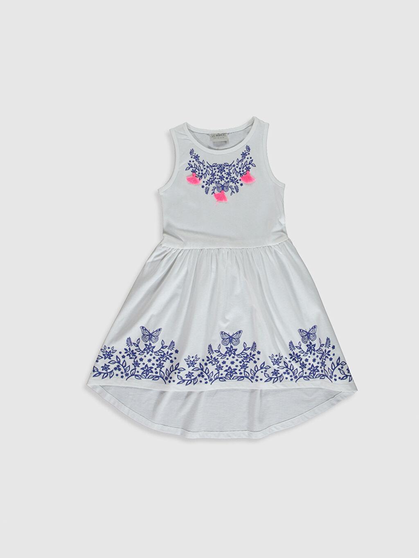 Beyaz Kız Çocuk Desenli Pamuklu Elbise 0SJ878Z4 LC Waikiki