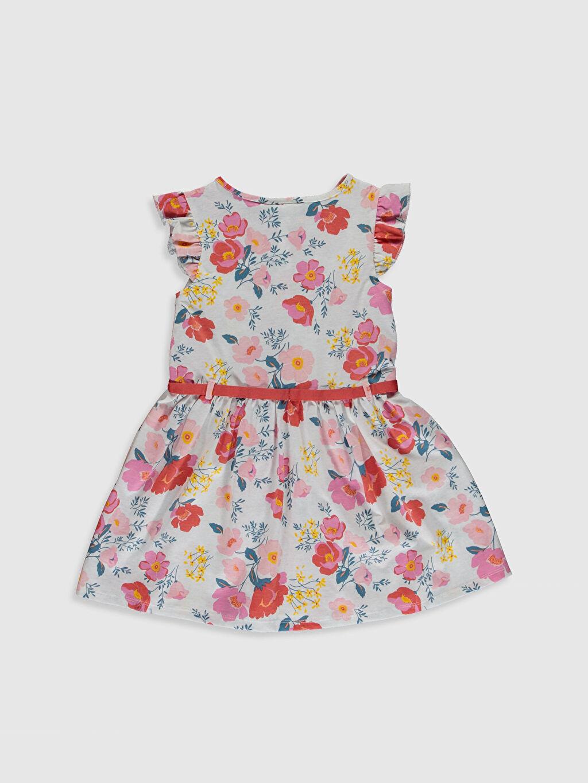 %45 Pamuk %55 Polyester Diz Üstü Desenli Kız Çocuk Çiçekli Elbise