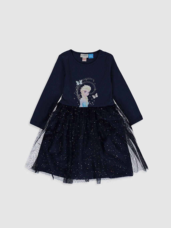 Lacivert Kız Çocuk Elsa Baskılı Tüllü Elbise 0SJ999Z4 LC Waikiki