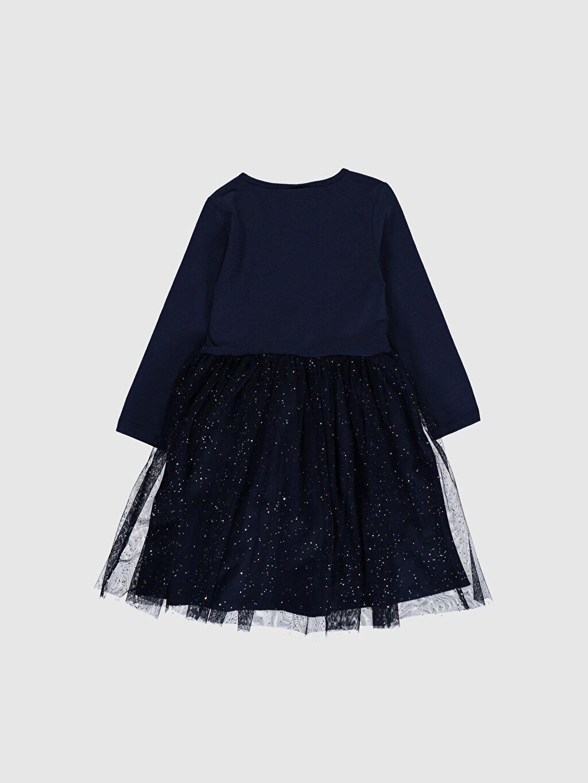 %100 Pamuk Diz Üstü Desenli Kız Çocuk Elsa Baskılı Tüllü Elbise