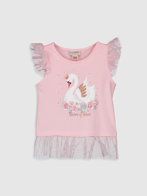 Pembe Kız Çocuk Baskılı Pamuklu Tişört 0SK311Z4 LC Waikiki
