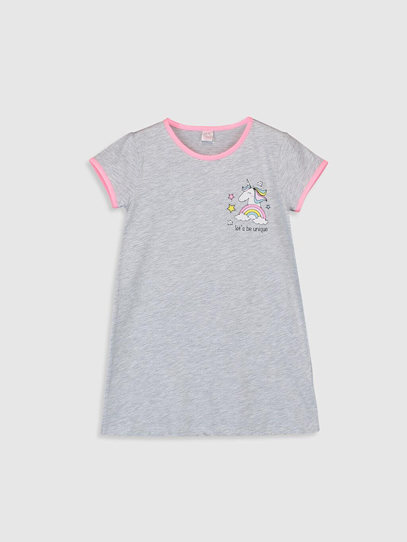 Gri Kız Çocuk Unicorn Baskılı Gecelik 0SK394Z4 LC Waikiki
