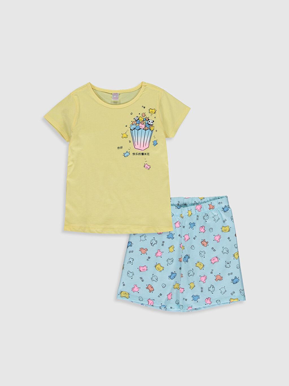 Sarı Kız Çocuk Baskılı Pamuklu Pijama Takımı 0SK395Z4 LC Waikiki