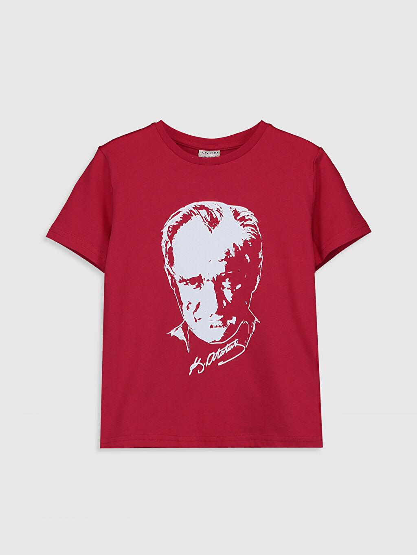 Kırmızı Erkek Çocuk Atatürk Baskılı Pamuklu Tişört 0SK414Z4 LC Waikiki