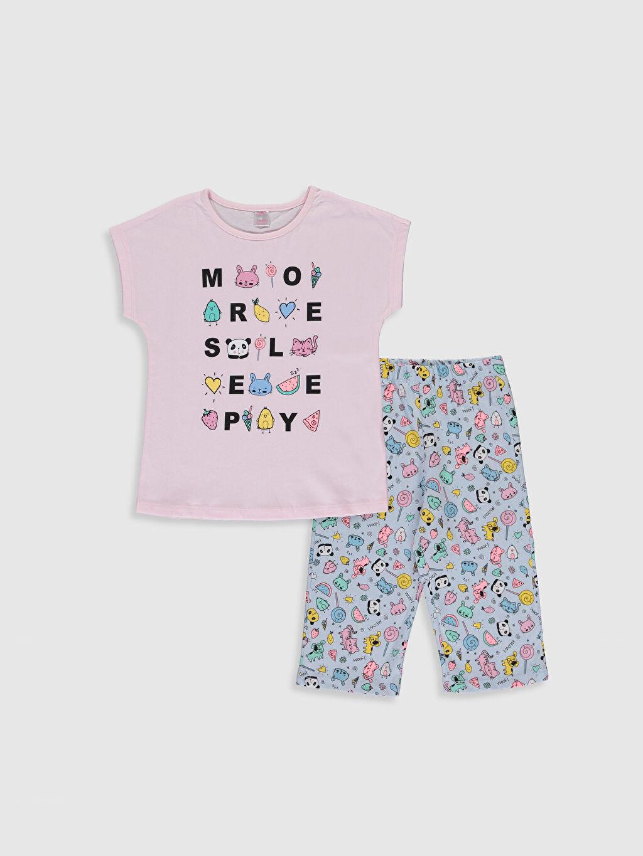 Pembe Kız Çocuk Baskılı Pamuklu Pijama Takımı 0SK449Z4 LC Waikiki