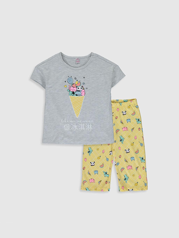 Gri Kız Çocuk Baskılı Pijama Takımı 0SK450Z4 LC Waikiki