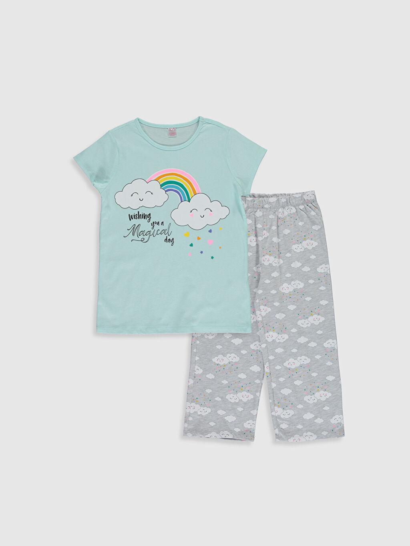 Turkuaz Kız Çocuk Baskılı Pamuklu Pijama Takımı 0SK482Z4 LC Waikiki