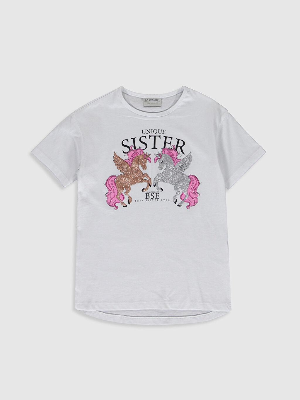 Beyaz Kız Çocuk Baskılı Pamuklu Tişört 0SK554Z4 LC Waikiki