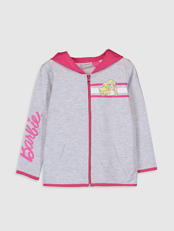 Gri Kız Çocuk Barbie Baskılı Fermuarlı Sweatshirt 0SK603Z4 LC Waikiki