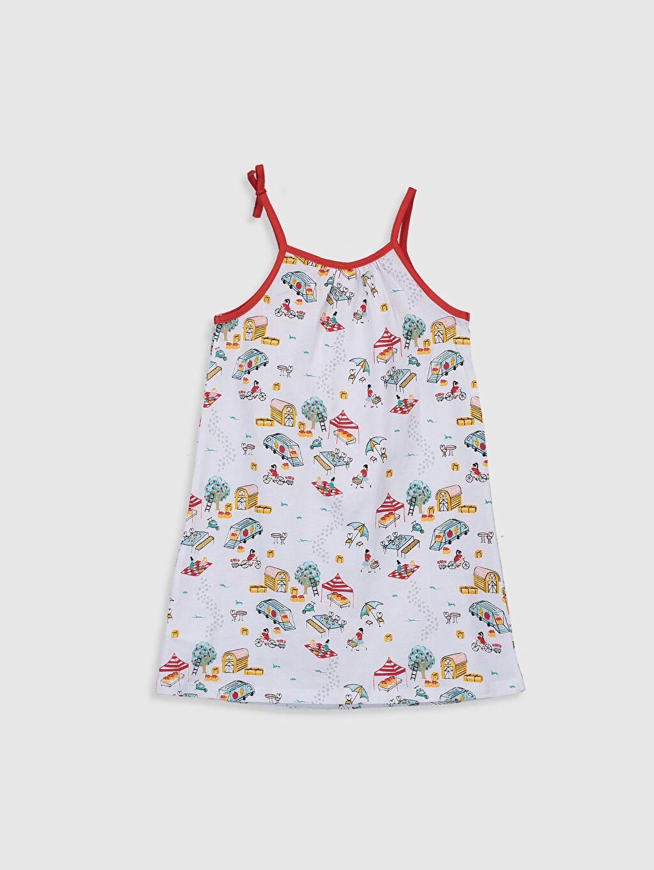 %100 Pamuk Standart Pijamalar Kız Çocuk Baskılı Pamuklu Gecelik