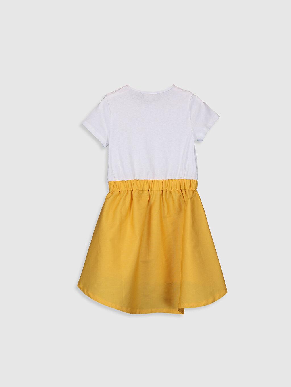 %100 Pamuk Diz Altı Desenli Kız Çocuk Yazı Baskılı Pamuklu Elbise