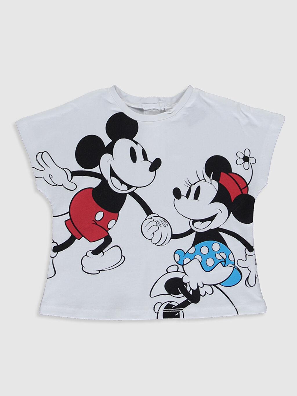 Beyaz Kız Bebek Minnie Mickey Mouse Pamuklu Tişört 0SL205Z4 LC Waikiki