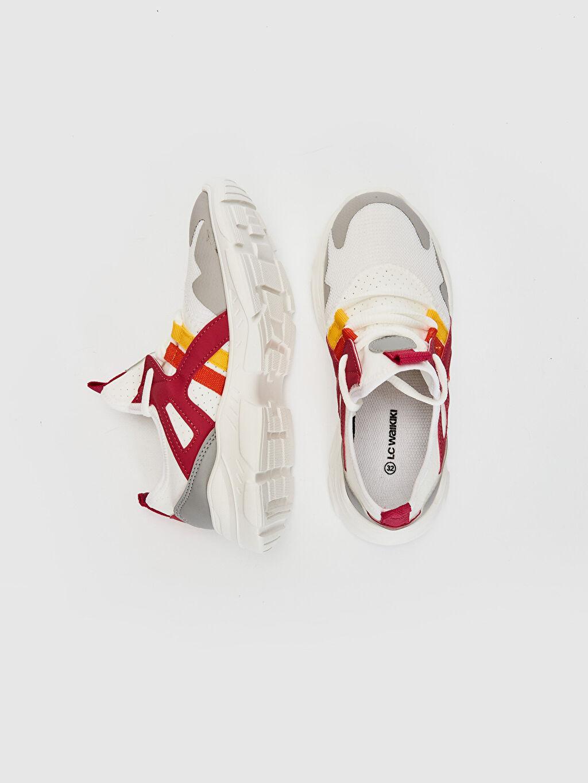 %0 Diğer malzeme (poliüretan) %0 Tekstil malzemeleri (%100 poliester)  Kız Çocuk Kalın Taban Bağcıklı Spor Ayakkabı