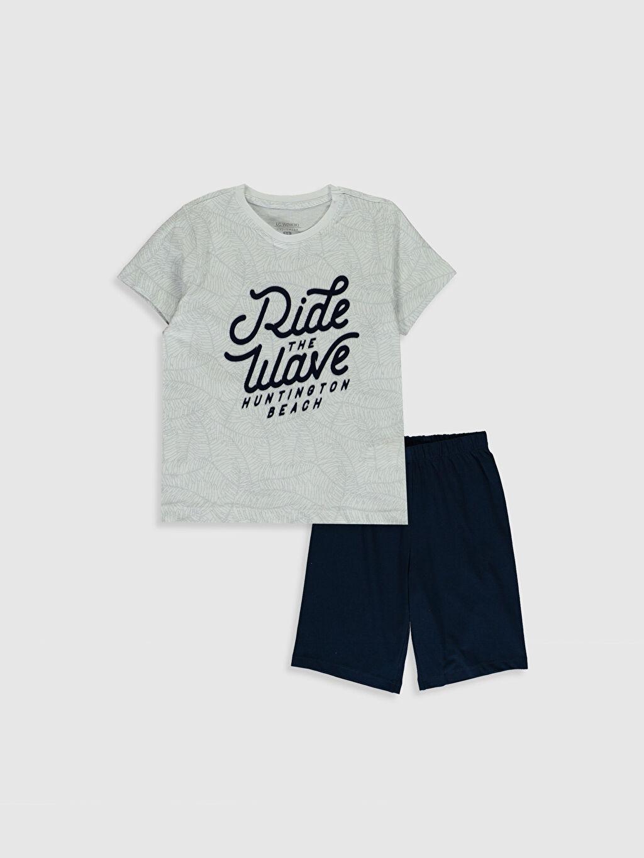Gri Erkek Çocuk Baskılı Pamuklu Pijama Takımı 0SL546Z4 LC Waikiki