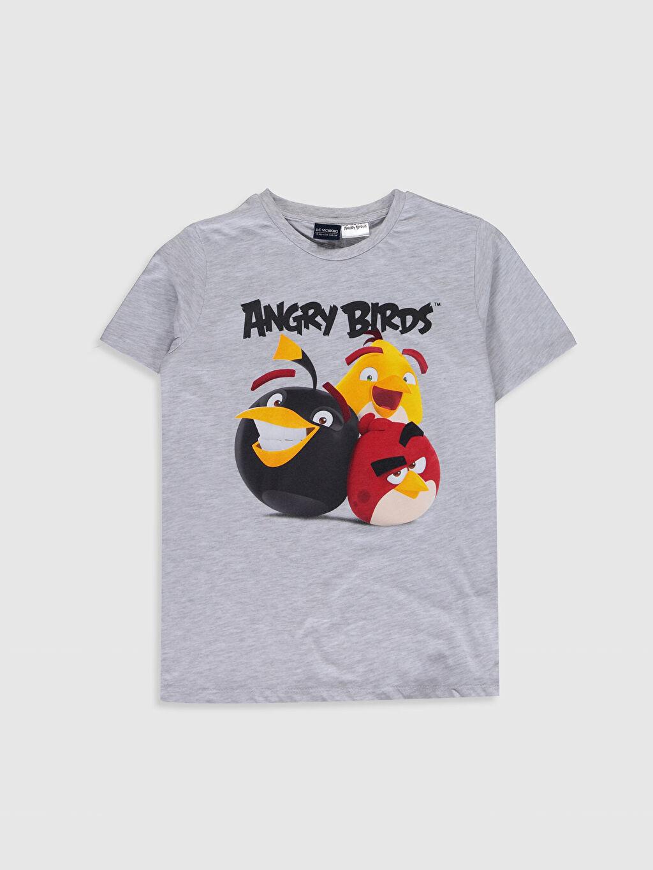 Gri Erkek Çocuk Angry Birds Baskılı Pamuklu Tişört 0SM049Z4 LC Waikiki