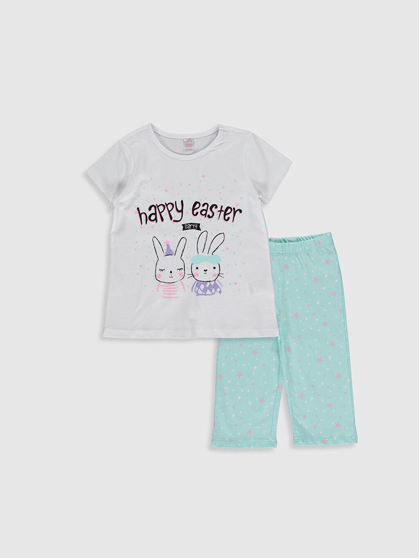 Beyaz Kız Çocuk Baskılı Pamuklu Pijama Takımı 0SM161Z4 LC Waikiki