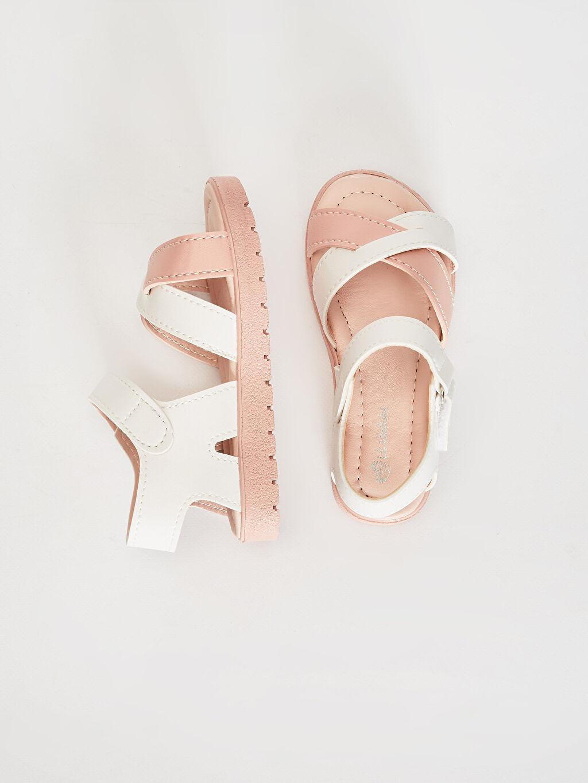 %0 Diğer malzeme (pvc)  Kız Çocuk Cırt Cırtlı Çapraz Bant Sandalet