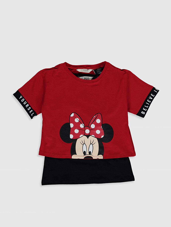 Kırmızı Kız Çocuk Minnie Mouse Pamuklu Tişört ve Atlet 0SN425Z4 LC Waikiki
