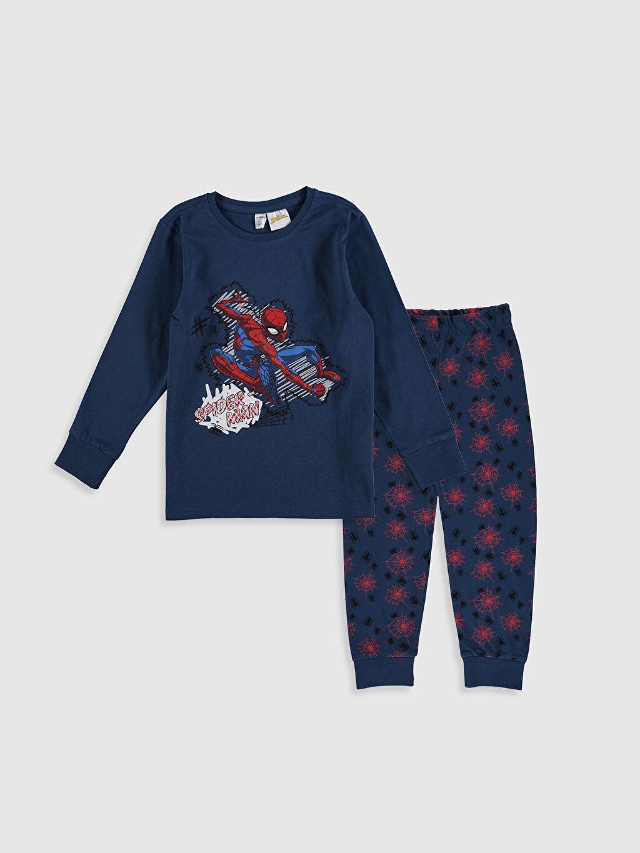 Lacivert Erkek Çocuk Spiderman Pamuklu Pijama Takımı 0SN488Z4 LC Waikiki