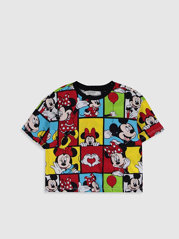 Siyah Kız Çocuk Mickey Mouse Baskılı Pamuklu Tişört 0SN545Z4 LC Waikiki