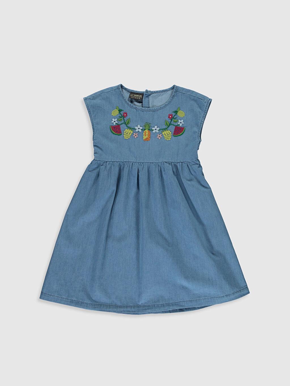 İndigo Kız Çocuk Meyve Nakışlı Jean Elbise 0SN563Z4 LC Waikiki
