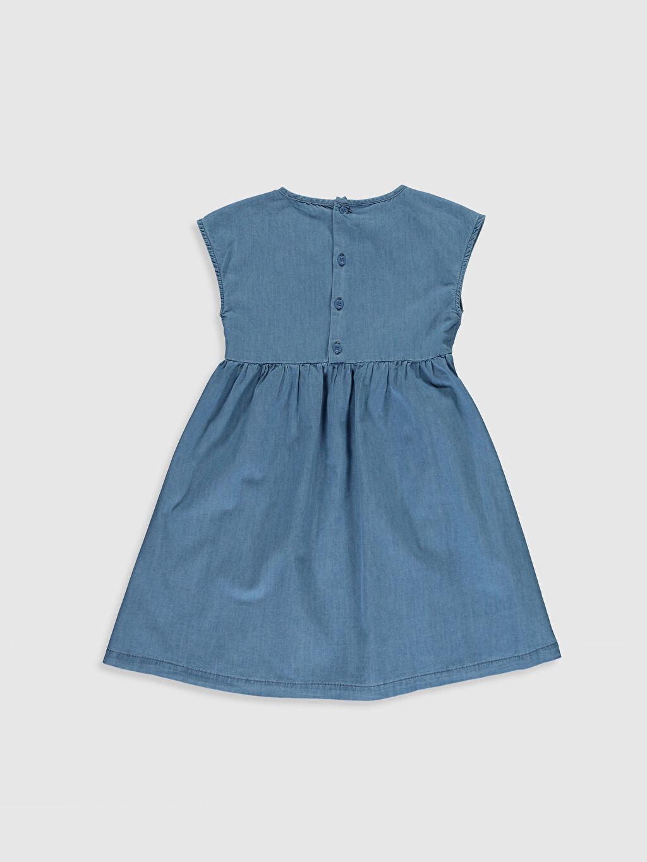 %100 Pamuk Diz Üstü Desenli Kız Çocuk Meyve Nakışlı Jean Elbise