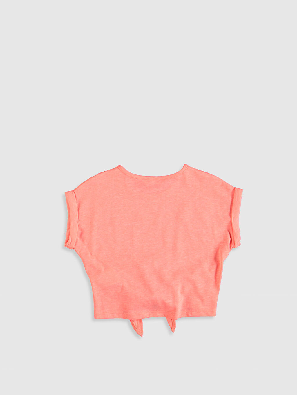 %47 Pamuk %53 Polyester Düz Tişört Bisiklet Yaka Kısa Kol Standart Kız Çocuk Dantel Detaylı Pamuklu Tişört