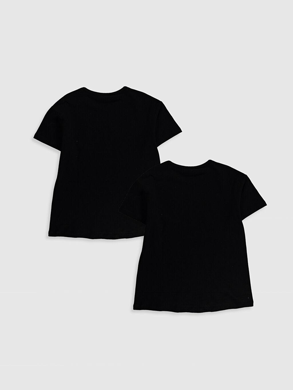 %100 Pamuk Standart Baskılı Tişört Bisiklet Yaka Kısa Kol Kız Çocuk Baskılı Pamuklu Tişört 2'li