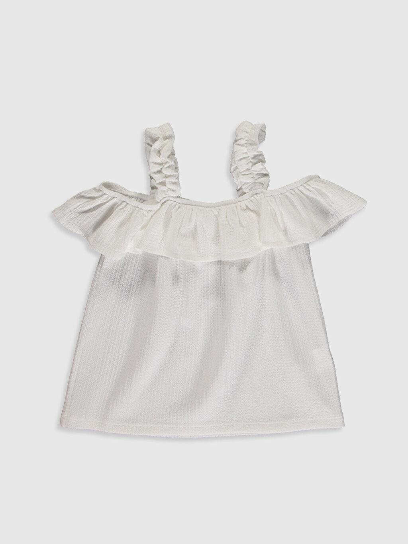 Ekru Kız Çocuk Omuzu Açık Bluz 0SO485Z4 LC Waikiki